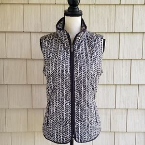 Lands' End Chevron Puffer Quilted Full Zip Vest M